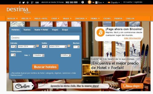 Bitcoins en Destinia
